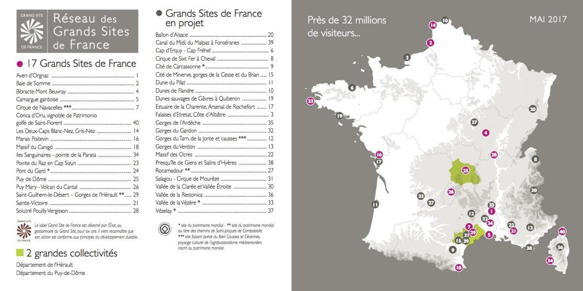 Carte des Grands Sites de France et en projet / RGSF