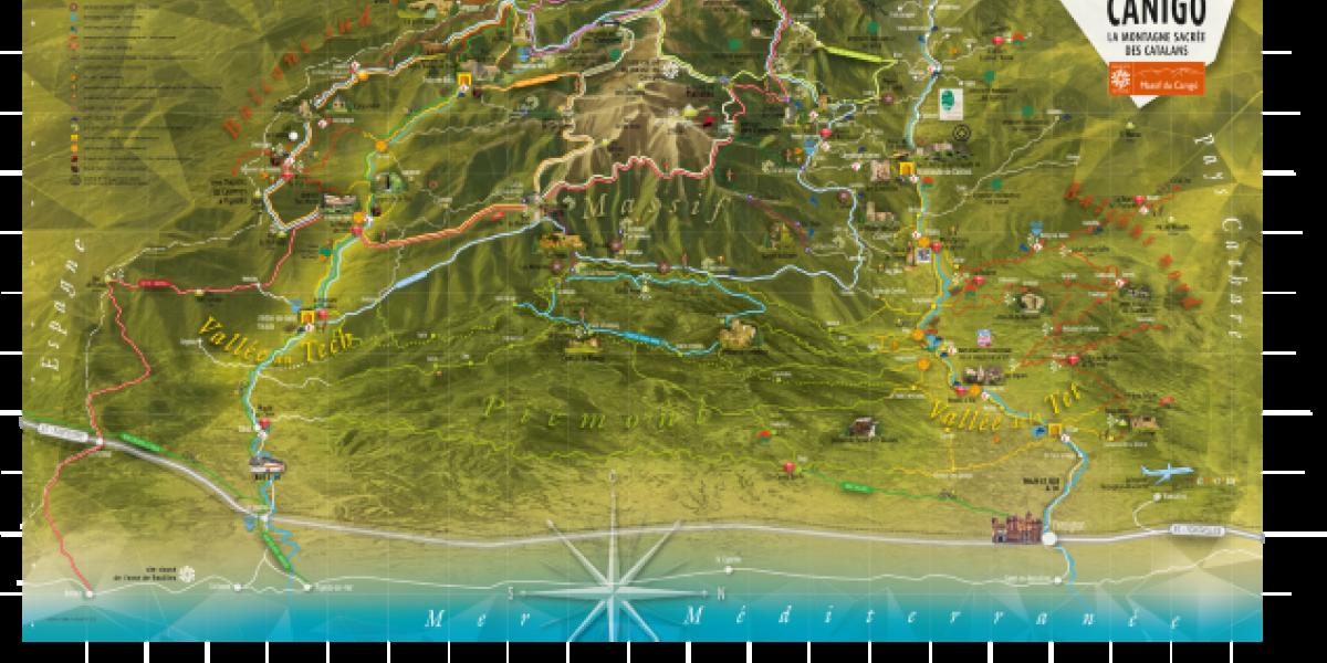 Mythique, carte de la destination touristique Canigó