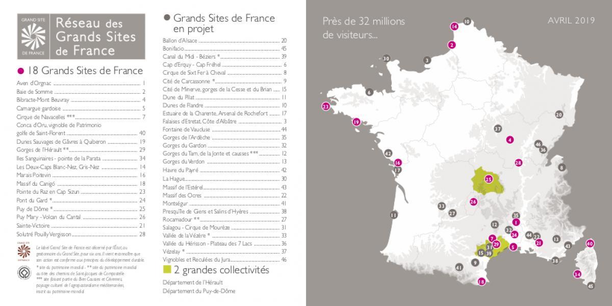 Carte des membres du réseau des Grands Sites de France et en projet / RGSF
